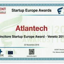 Atlantech awarded at the Startup Europe Awards 2016 - Italy - Veneto